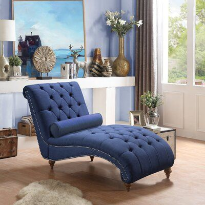 Yarmouth Chaise Lounge Upholstery Color Navy In 2020 Chaise Lounge Bedroom Tufted Chaise Lounge Peacock Living Room