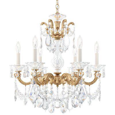 Schonbek La Scala 6 Light Candle Style Chandelier Crystal Type