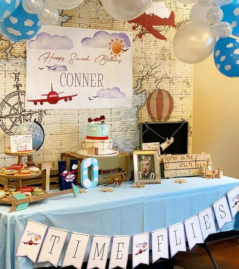 1st Birthday Boy Themes, Second Birthday Ideas, First Birthday Invitations, Boy First Birthday, First Birthday Parties, First Birthdays, Time Flies Birthday, Vintage Birthday Parties, Airplane Party