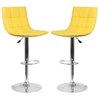 Incredible Roxy Quilted Design Yellow Adjustable Swivel Barstool Andrewgaddart Wooden Chair Designs For Living Room Andrewgaddartcom