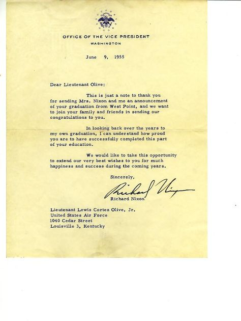 President Nixon-Office of the VP Advertisements, Letterheads - nixon resignation letter