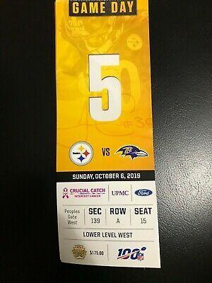 Sponsored Pittsburgh Steelers V Baltimore Ravens Ticket Stub 10 6 19 Heinz Field Heinz Field Baltimore Ravens Pittsburgh Steelers