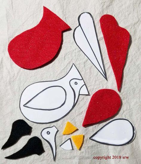 How To Make Cardinal Bird – Motivation Enchantment by Silver RavenWolf – Silver RavenWolf Felt Ornaments Patterns, Bird Ornaments, Felt Christmas Ornaments, Felt Patterns, Bird Patterns, Applique Patterns, Cardinal Ornaments, Cardinal Birds, Wool Applique