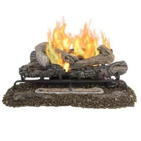 Pleasant Hearth 30 In 33000 Btu Triple Burner Vent Free Gas Fireplace Logs With Thermostat And Remote At Lowes Com Gas Fireplace Logs Gas Fireplace Free Gas