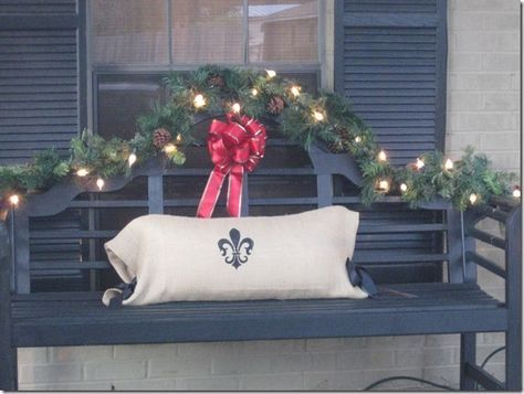 Decorated Christmas Bench Bench For Front Porch Idea Porch