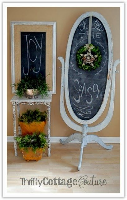 Upcycled Floor Length Mirror/Chalkboard! Layered w/MMS Artissimo, Dried Lavender, and Linen Thrifty Cottage Couture