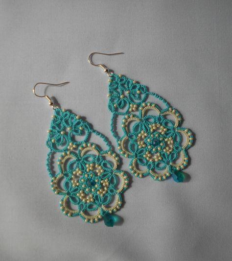 Blue earrings  tatted earrings by TattingLaceJewellery on Etsy
