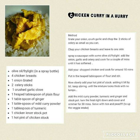 Chicken Curry In A Hurry Slimming World Dinners Curry In