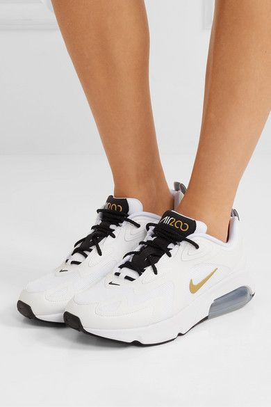 White Air Max 200 Leather Trimmed Felt And Mesh Sneakers Nike Nike Air Max Sneakers Nike Air