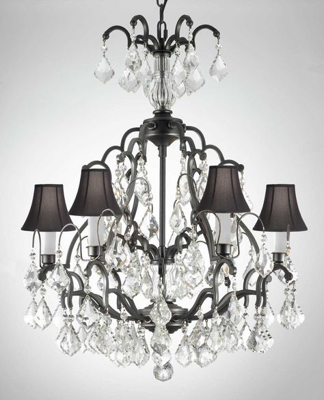 Wrought Iron Crystal Chandelier Lighting H 30 W 20 With Black