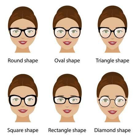 Stock Vector Glasses For Round Faces Eyeglasses Frames For Women Glasses For Oval Faces