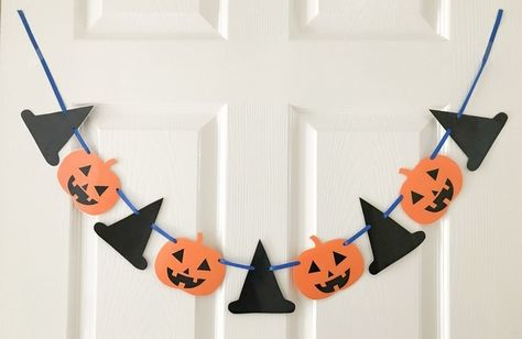 Halloween paper bunting, Pumpkins and witches £4.00