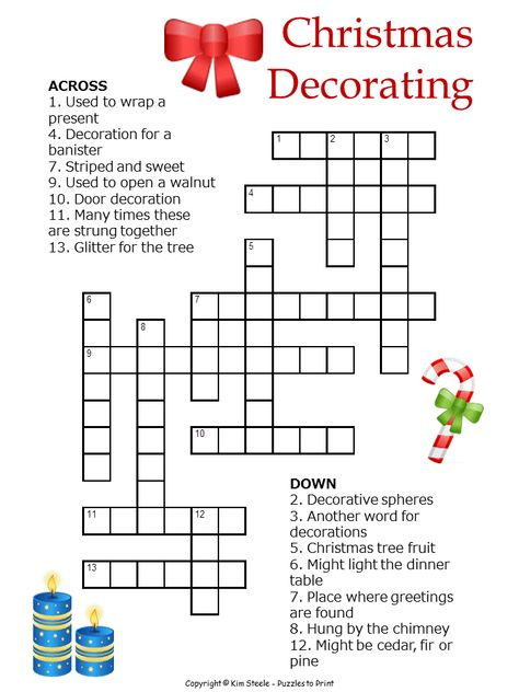 Printable Christmas puzzle: this one is a crossword that uses decorations for clues.  Good for 8 to 12 years old and perfect for the classroom or home.