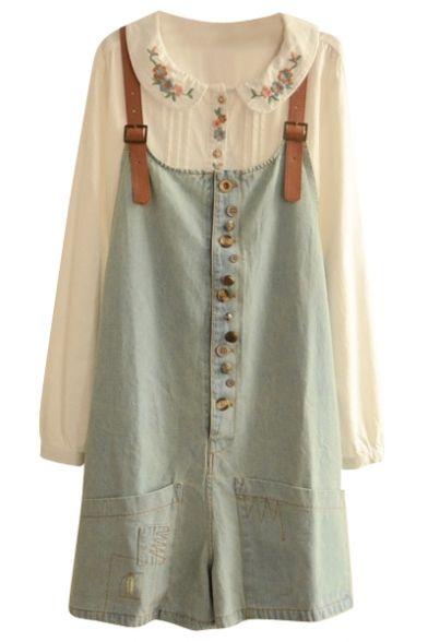 retro buttons denim overall Modest Fashion, Girl Fashion, Pretty Outfits, Cute Outfits, Denim Overalls, Denim Jumpsuit, Jeans, Sweet Dress, Aesthetic Clothes