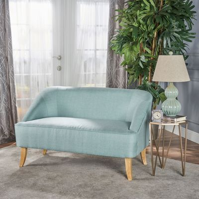 Wondrous Mid Century Modern Light Blue Fabric Loveseat In 2019 Pabps2019 Chair Design Images Pabps2019Com