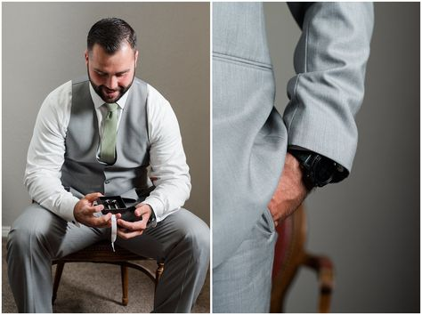 Groom opening gift of custom cufflinks with message | Sage Green and Gray Summer Wedding at Oak Hills | Jessie and Dallin Photography #utahwedding #utahweddings #utahweddingvenue #utahweddingvenues #utahweddingvendors #utahweddingphotography #utahbride #utahbrideandgroom #oakhills #mountainwedding #utahweddingphotographer #sagegreen #candidwedding #rockymountainwedding #groomstyle #groomdetails #groom