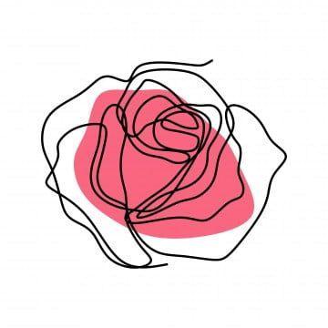 Continuous Line Drawing Of Rose Flower Vector Plant White Floral Png And Vector With Transparent Desenho Em Linha Continua Desenho De Flor Ilustracao Rosa
