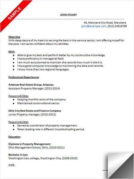 Property Manager Resume Sample Resume Examples Pinterest - assistant property manager resume sample