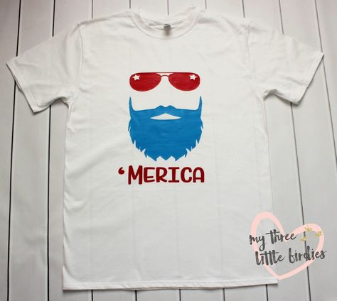 American Beard Mens Patriotic T-Shirt by Red White Blue Apparel