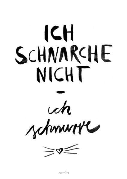 Typo Poster für Katzen-Fans und schnarchende Mitmenschen / funny artprint, fun words, cat content made by typealive via DaWanda.com