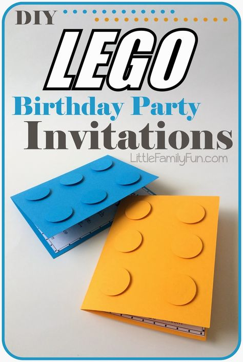 How to make Lego Party Invitations. Perfect for a Boy Birthday Party!You can find Lego invitations and more on our website.How to make Lego Party Invitatio. Lego Themed Party, Lego Birthday Party, 6th Birthday Parties, Boy Birthday, Lego Parties, Birthday Ideas, Pool Parties, Kid Parties, Cake Birthday