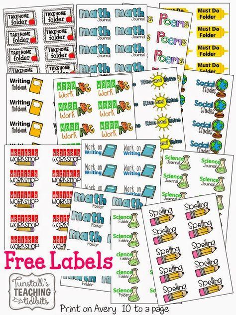 Folder & Journal Labels (free; from Tunstall's Teaching Tidbits via Freebielicious)