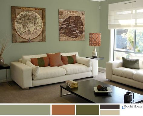 Browse Interior Design Ideas For An Amazing Full Color Living Room With A Wide Range Of Decorating Sage Green Living Room Sage Living Room Living Room Orange