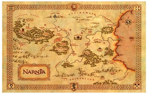 Narnia map Cotton Canvas map Vintage Map Style by VikitoGifts