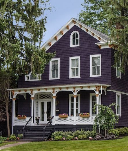 Historic Purple Victorian House With Large Porch And Gold Trim In Chatham New Jersey Colonial House Exteriors Victorian House Colors Exterior House Colors