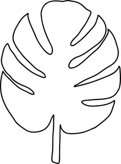 image relating to Leaves Stencil Printable named Tropical Leaf Template - ClipArt Scan n minimize Leaf