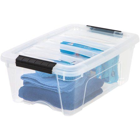 Iris Usa 12 Qt Plastic Storage Box With Latches Walmart Com Plastic Box Storage Plastic Storage Bins Fabric Storage Bins
