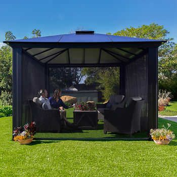 Messina Galvanized Steel Roof Sun Shelter In Dark Gray In 2020 Aluminum Gazebo Gazebo Backyard Gazebo