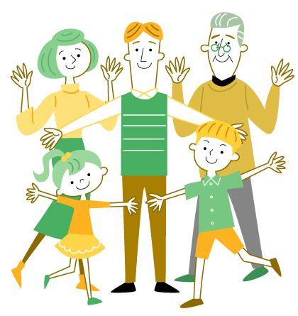 おじいちゃん お父さん お母さん 子供たちのかわいい線画イラスト おじいちゃん イラスト お父さん イラスト こども イラスト