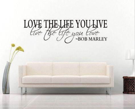 Bob Marley Life I Live Wall Art Sticker Quote Decal Vinyl Transfer