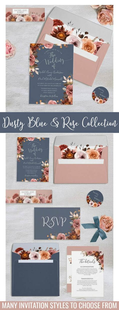 16 Ideas for wedding colors summer colour palettes ideas dusty blue Blue And Blush Wedding, Dusty Pink Weddings, Dusty Rose Wedding, Pink Wedding Theme, Spring Wedding Colors, Wedding Summer, Blue Country Weddings, Spring Wedding Invitations, Dusty Rose Color
