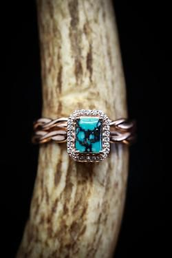 Emerald cut turquoise wedding band set with diamond halo and twisted band (available in Cute Jewelry, Jewelry Accessories, Women Accessories, Turquoise Wedding Band, Wedding Band Sets, Halo Diamond, Just In Case, Piercing, Jewelery