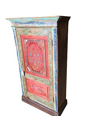 Antique Indian Floral Hand Painted Cabinet Armoire Hand Carved Cupboard Painting Cabinets Hand Carved Antique Wardrobe