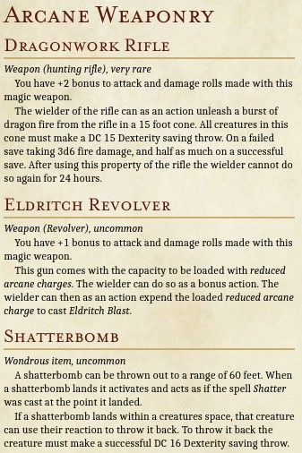 Arcane Firearms D D Dungeons And Dragons Dungeons And Dragons Homebrew Dnd Monsters