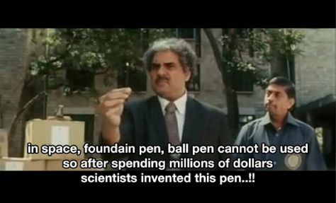 in space fountain pen, ball pen cannot be used so after spending millions of dollars scientists invented this pen..!!