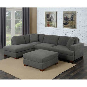Kellen 3 Piece Fabric Sectional And Ottoman