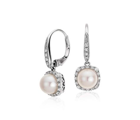 bcef45717d Freshwater Cultured Pearl and White Topaz Earrings in Sterling Silver (7mm)
