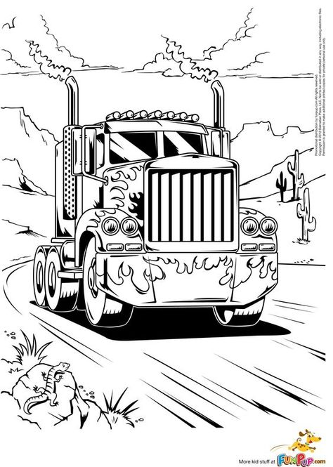 A Peterbilt 386 Semi Truck Coloring Page Truck Art Pinterest - copy simple tractor coloring pages