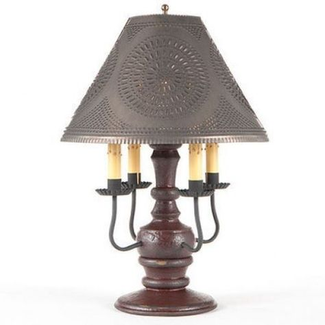 Primitive new CEDAR CREEK black finish 4 arm table lamp w