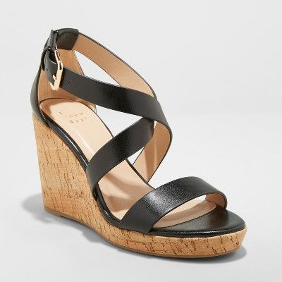 9b1e1600c Women's Cecilia Strappy Cork Wedge Ankle Strap Sandal - A New Day™ Black 8  : Target