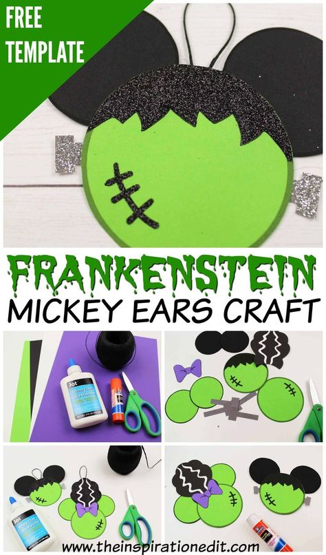 Disney Mickey Ears Frankenstein Craft · The Inspiration Edit - - Frankenstein craft! This is a fantastic Disney Halloween Mickey Ears Craft with free printable. Make your Mickey and bride of Frankenstein Minnie ears today. Halloween Tags, Halloween Desserts, Frankenstein Halloween, Frankenstein Craft, Disney Halloween Decorations, Halloween Arts And Crafts, Mickey Mouse Halloween, Minnie Mouse, Disney Mickey Ears