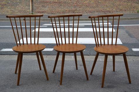 Détails sur 3 chaise vintage style scandinave année 50 60 ...