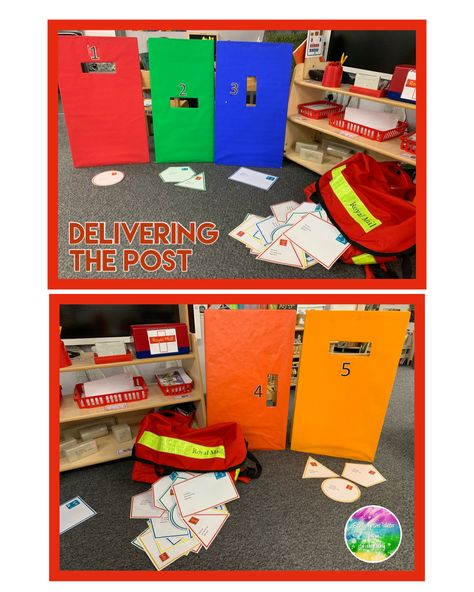 Activity to consolidate colours and shapes. Envelopes are different shapes and edges with the colours on the doors.