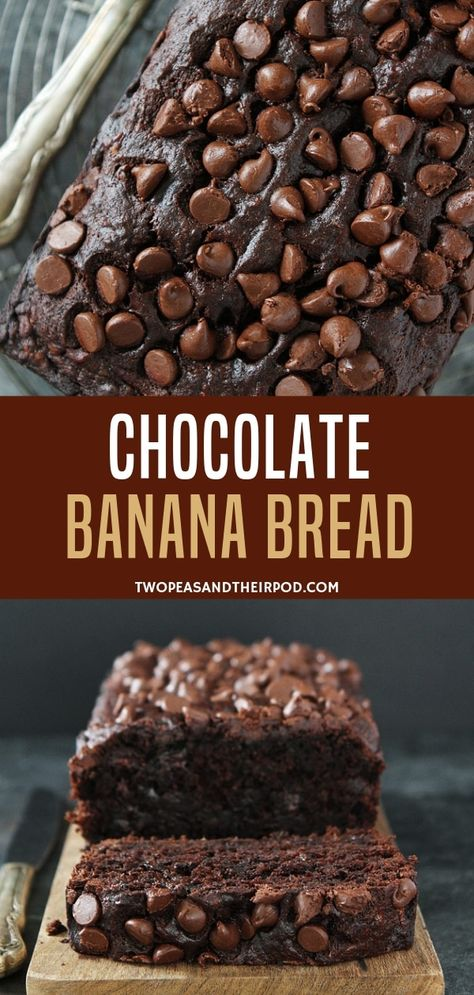 Chocolate Banana Bread is the ultimate banana bread! Rich, delicious, and SO easy to make! #bananabread #chocolate #baking #bread #chocolatechip #banana