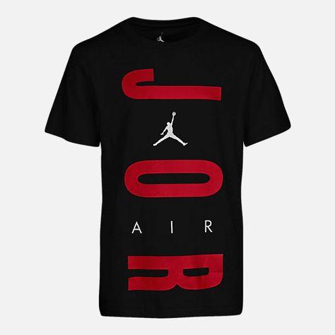 e0e4634cd9356c Front view of Boys  Air Jordan Retro 12 T-Shirt in Black Gym Red