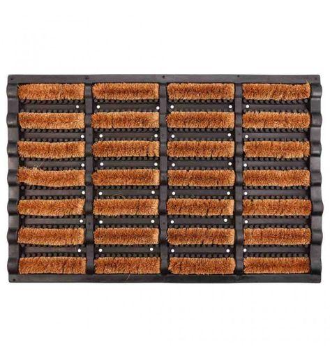 marr/ón y negro Alfombra exterior decorativa de fibra de coco con la leyendaWelcome mDesign Pr/áctico felpudo original Felpudos de coco natural con motivo impreso para exterior e interior